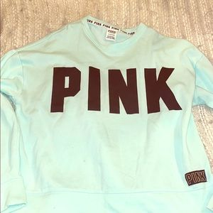 Victoria Secret Pink light blue sweatshirt